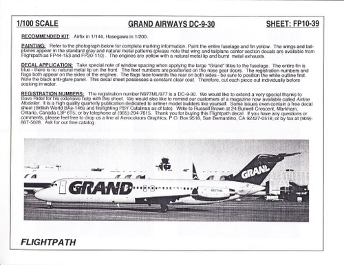 1/100 Scale Decal Grand Airways DC9-30