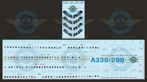 1/144 Scale Decal A330-200 Lifelike Cockpit & Windows