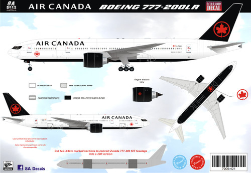 1/144 Scale Decal Air Canada 777-200LR 2017