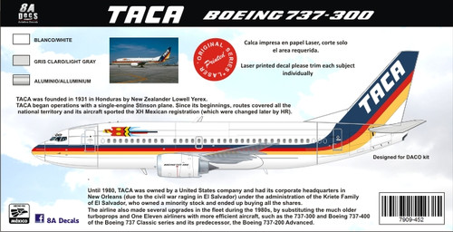 1/144 Scale Decal TACA 737-300
