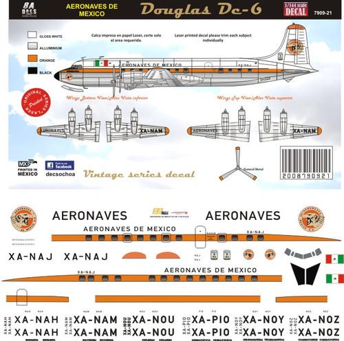 1/72 Scale DecalAeronaves de Mexico DC-6