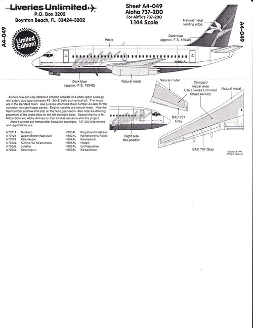1/144 Scale Decal Aloha 737-200