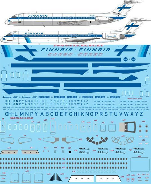 1/144 Scale Decal Finnair DC-9's / MD-80's