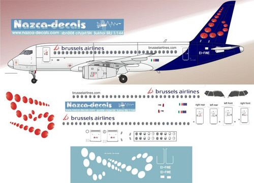 1/144 Scale Decal Brussels Airlines Sukhoi RJ