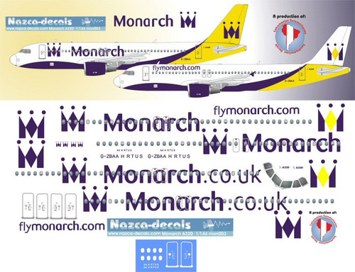 1/144 Scale Decal Monarch A-320