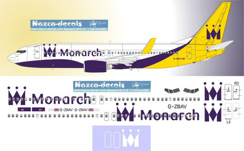 1/144 Scale Decal Monarch 737-800