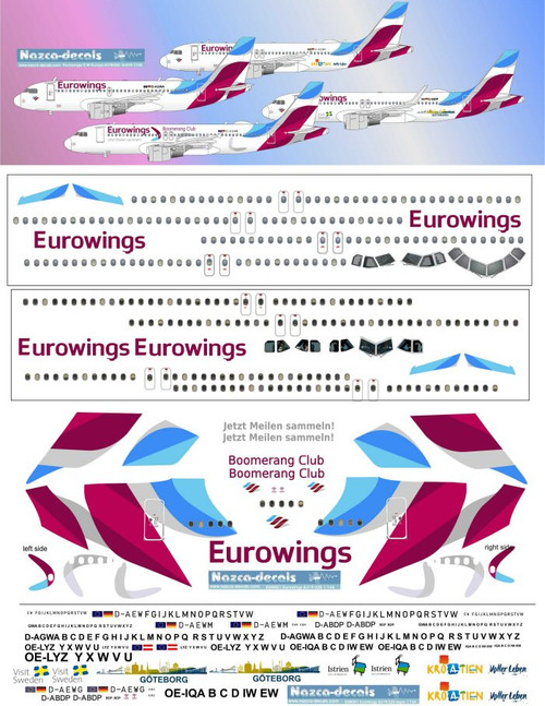 1/144 Scale Decal Eurowings A-319 / A-320
