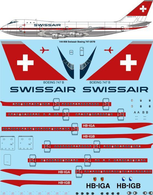 1/144 Scale Decal Swissair 747-200 Delivery