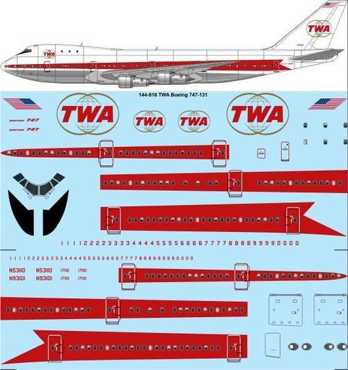 1/144 Scale Decal TWA 747-100 Twin Globe