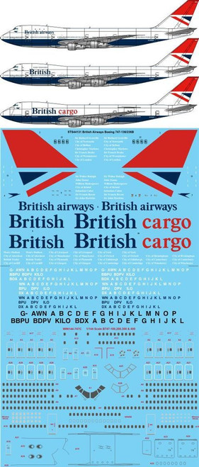 1/144 Scale Decal British Airways 747-100 / 200 Negus & Negus