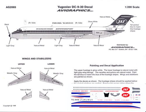1/200 Scale Decal JAT Yugoslav DC9-30