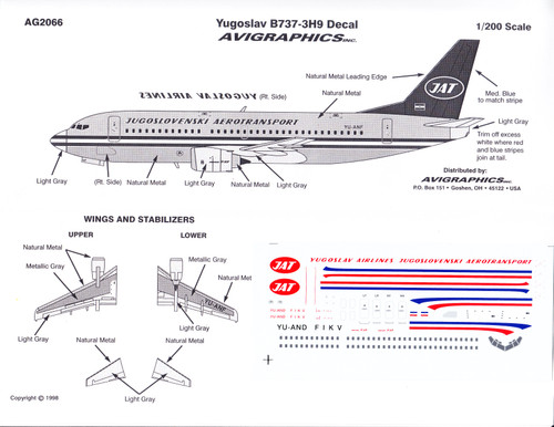 1/200 Scale Decal JAT Yugoslav 737-300