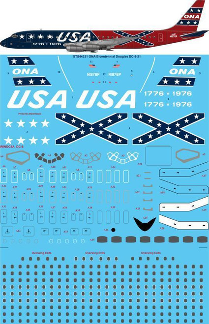 1/144 Scale Decal ONA DC8-21 BICENTENNIAL