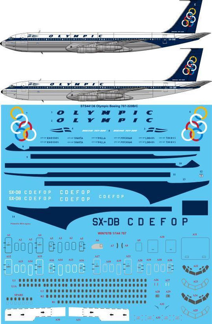 1/144 Scale Decal Olympic 707-320B/C