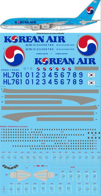 1/144 Scale Decal Korean Air A-380