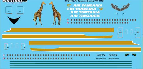 1/144 Scale Decal Air Tanzania 707-331B