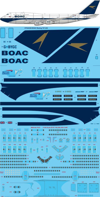 1/144 Scale Decal British Airways 747-400 Retro BOAC