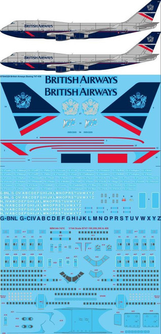 1/144 Scale Decal British Airways 747-400 Landor