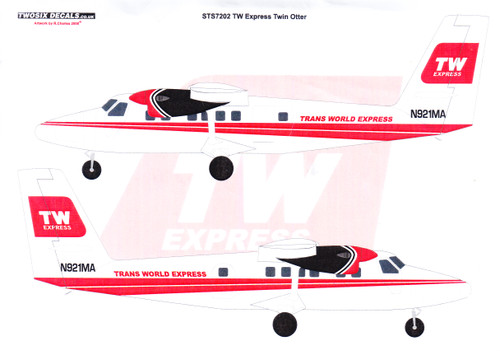1/72 Scale Decal TWA Express DHC-6 TWIN OTTER