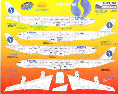1/144 Scale Decal Sabena A-330 & A-340