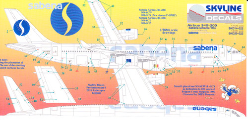 1/144 Scale Decal Sabena  A-340
