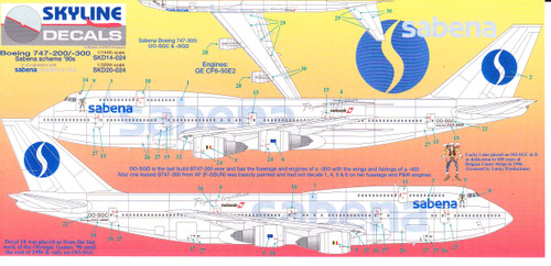 1/144 Scale Decal Sabena 747-200 / 300