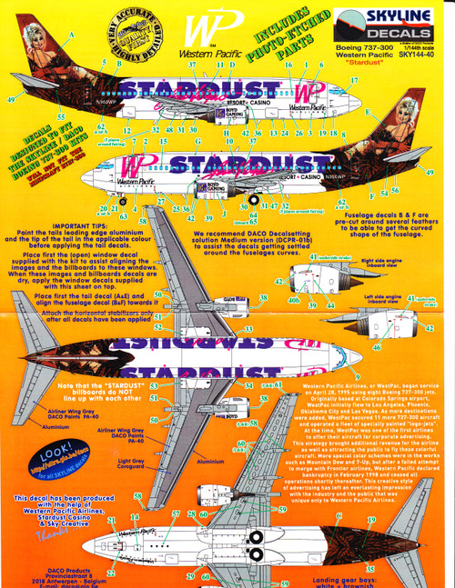 1/144 Scale Decal Western Pacific 737-300 STARDUST