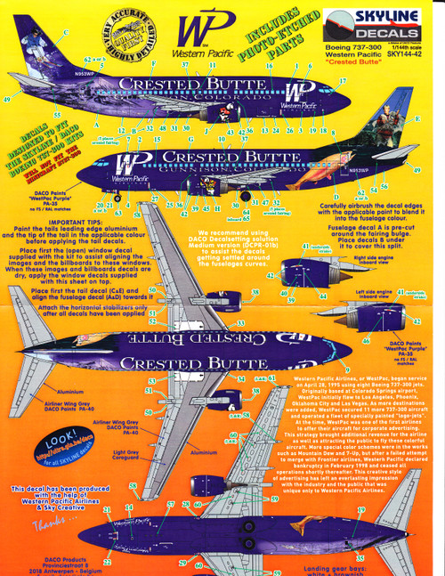 1/144 Scale Decal Western Pacific 737-300 CRESTED BUTTE