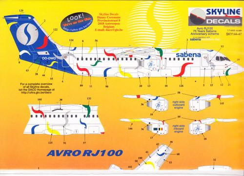 1/144 Scale Decal Sabena RJ-100