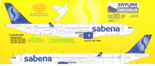 1/144 Scale Decal Sabena A-330 / A-340