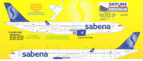 1/144 Scale Decal Sabena A-330 / A-340