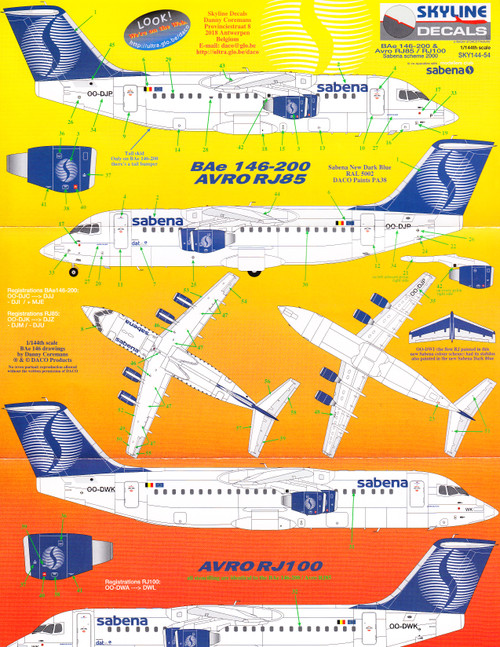 1/144 Scale Decal Sabena BAe 146-200 / RJ-85 / RJ-100