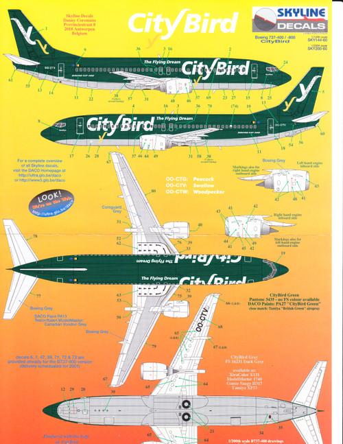 1/144 Scale Decal City Bird 737-400 / 800