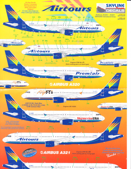 1/144 Scale Decal Airtours A-320 / 321