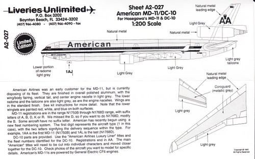1/200 Scale Decal American Airlines DC-10 / MD-11