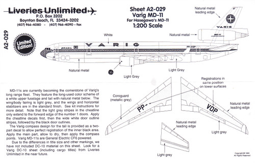 1/200 Scale Decal Varig MD-11