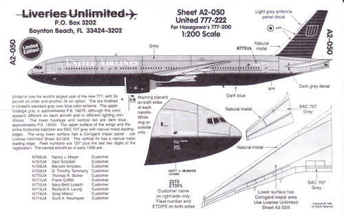 1/200 Scale Decal United Airlines 777-200
