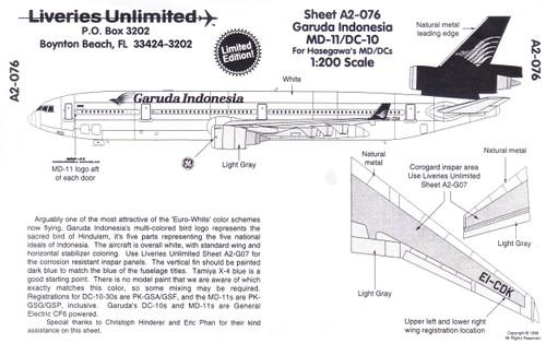 1/200 Scale Decal Garuda Indonesia DC-10 / MD-11