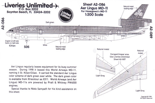 1/200 Scale Decal Aer Lingus MD-11