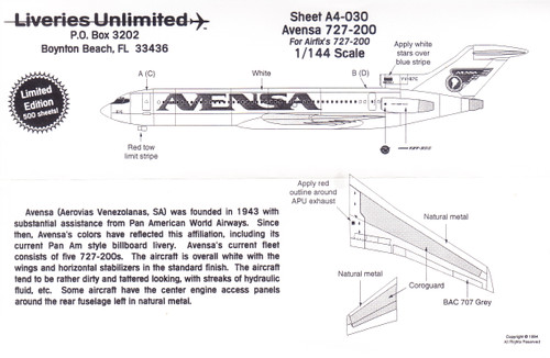 1/144 Scale Decal AVENSA 727-200