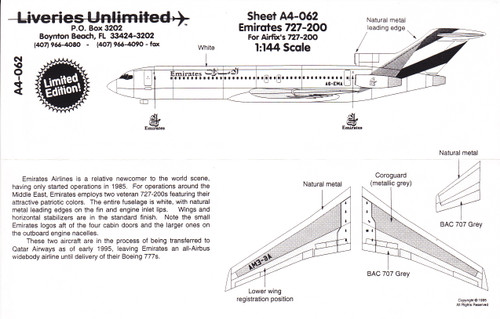 1/144 Scale Decal Emirates 727-200