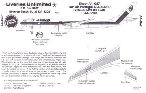 1/144 Scale Decal TAP Air Portugal A-340 / A-310