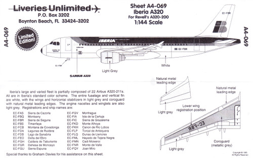 1/144 Scale Decal Iberia A-320