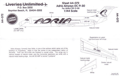 1/144 Scale Decal Adria Airways DC9-30