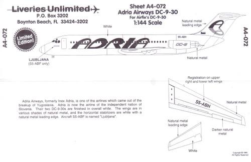 1/144 Scale Decal Adria Airways DC9-30