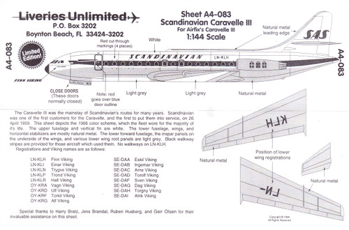 1/144 Scale Decal Scandinavian Caravelle