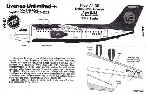 1/144 Scale Decal Uzbekistan Airways RJ-85