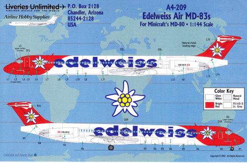 1/144 Scale Decal Edelweiss Air MD-83