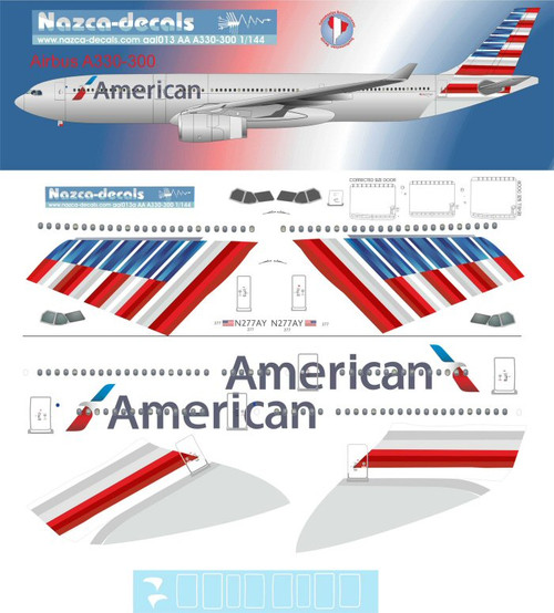 1/144 Scale Decal American A330-300