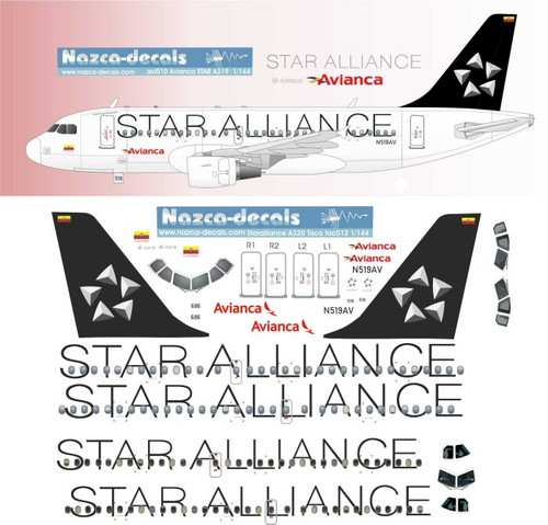 1/144 Scale Decal Avianca A-319 Star Alliance 2 Versions